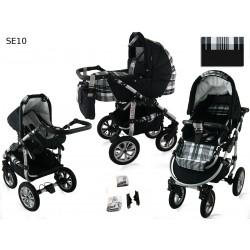 Wózek dziecięcy Krasnal SATURN (czarny+krateczka)