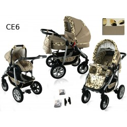 Wózek dziecięcy Krasnal CORAL (cappuccino + liście )
