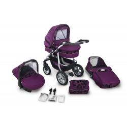 Wózek dziecięcy Krasnal CORAL (fiolet + kwiatki) len