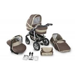 Wózek dziecięcy Krasnal CORAL (brąz +cappuccino ) len