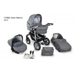 Wózek dziecięcy Krasnal Coral (szary LEN +szary LEN) 3w1