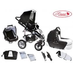 Wózek dziecięcy Krasnal SATURN (czarny + biały)