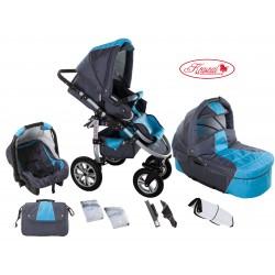 Wózek dziecięcy Krasnal SATURN (grafit + niebieski)
