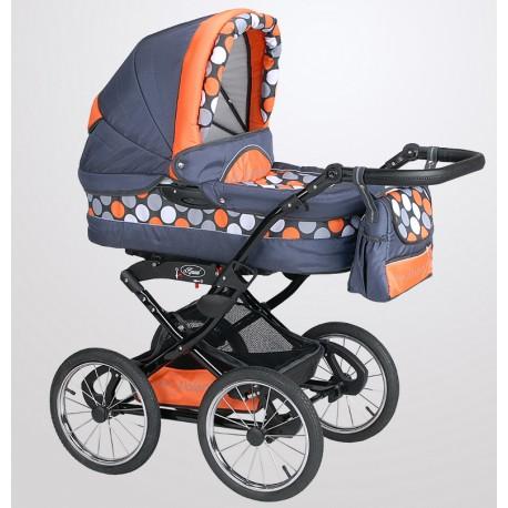 Wózek dziecięcy Polaris retro P-K7 (grafit + kropki)