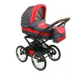 Wózek dziecięcy Polaris retro grafit + czerwony