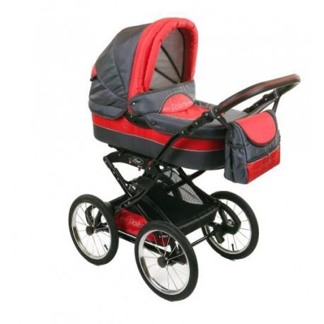 Wózek dziecięcy Polaris retro P4 (grafit + czerwony)