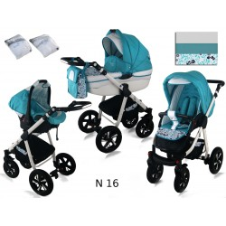 Wózek dziecięcy Krasnal NEXXO ( mięta+listki )