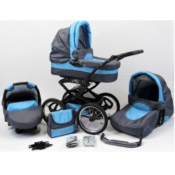 Wózek dziecięcy Polaris retro grafit + niebieski