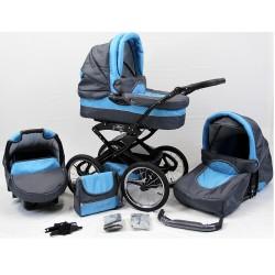 Wózek dziecięcy Polaris retro P7 (grafit + niebieski)