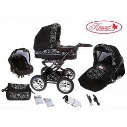 Wózek dziecięcy Krasnal POLARIS (czarny + kwiatki )