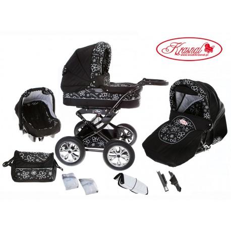 Wózek dziecięcy Krasnal Polaris (czarny + kwiatki)