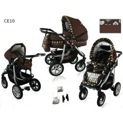 Wózek dziecięcy Krasnal CORAL (brąz+serca)