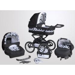 Wózek dziecięcy Krasnal POLARIS retro (czarny + kropki)