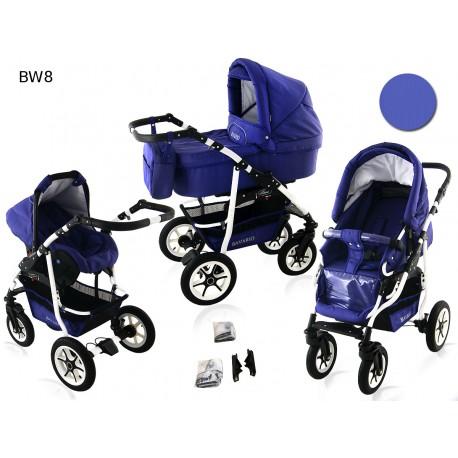 Wózek dziecięcy BAVARIO white ( fioletowy)