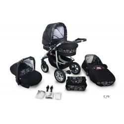 Wózek dziecięcy Krasnal CORAL  (czarny + czarne kwiaty)
