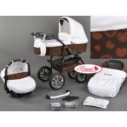 Wózek dziecięcy Krasnal Bavario biały + brązowe serca