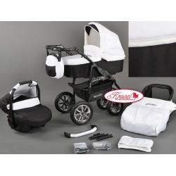 Wózek dziecięcy Krasnal BAVARIO (biały + czarny)