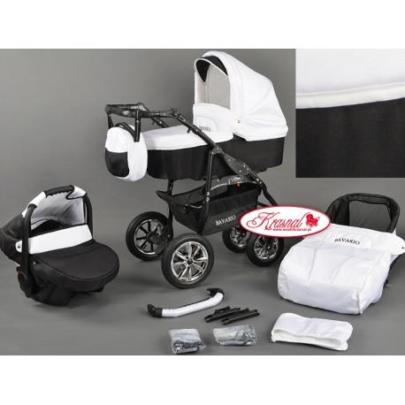Wózek dziecięcy Krasnal BAVRIO (biały + czarny)