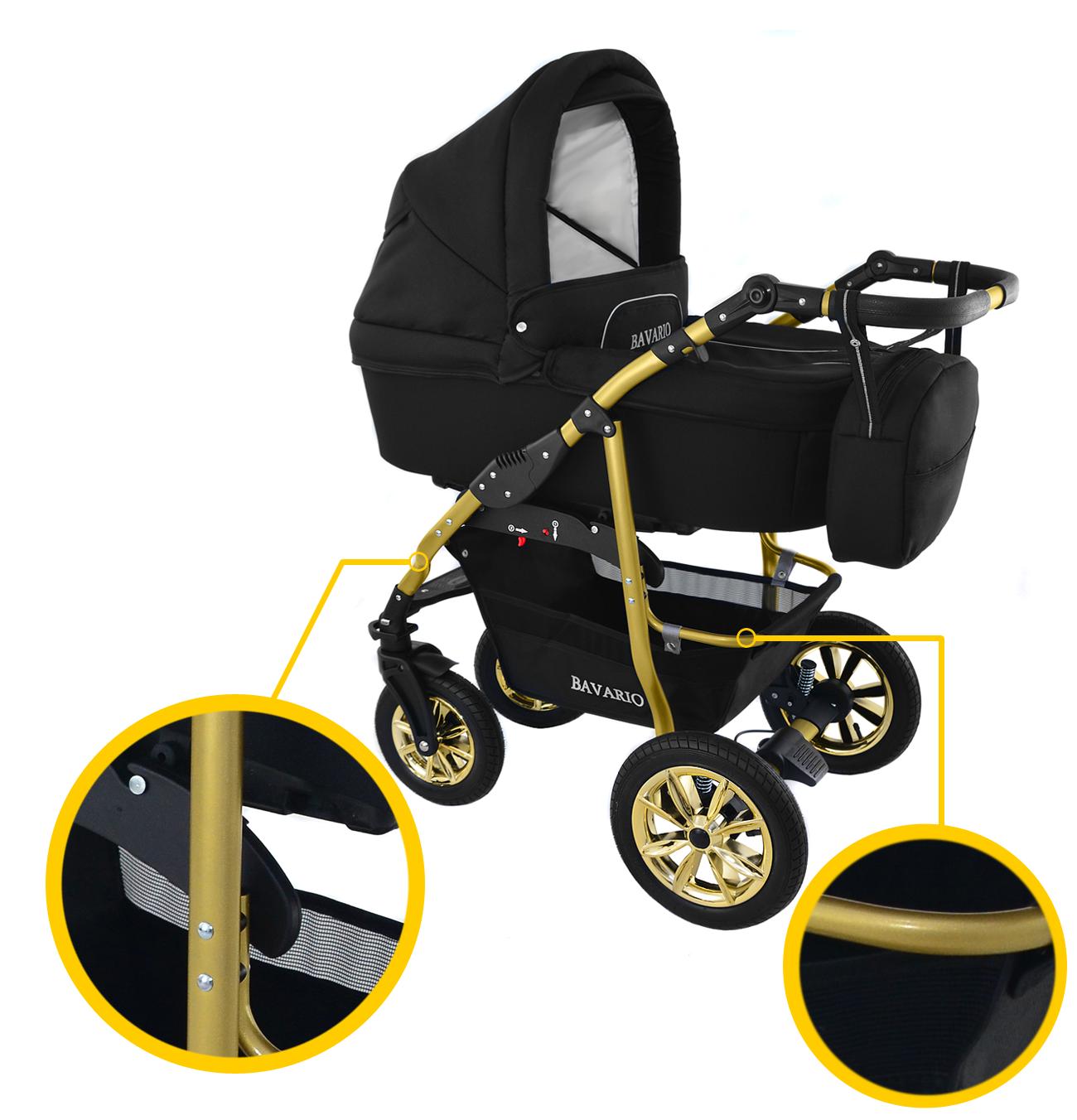 Wózek dziecięcy Krasnal BAVARIO gold [ czarny wózek na złotej ramie ]